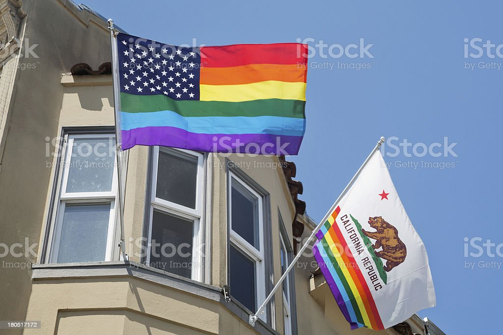 Flags in Castro, gay neighborhood of San Francisco royalty-free stock photo