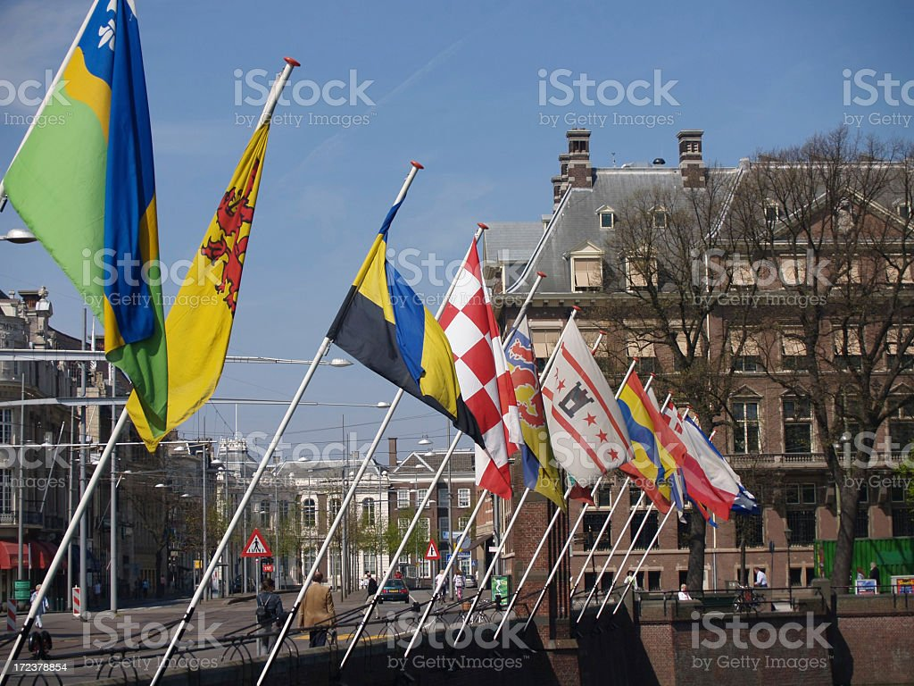 Flags in Central Part of The Hague royalty-free stock photo