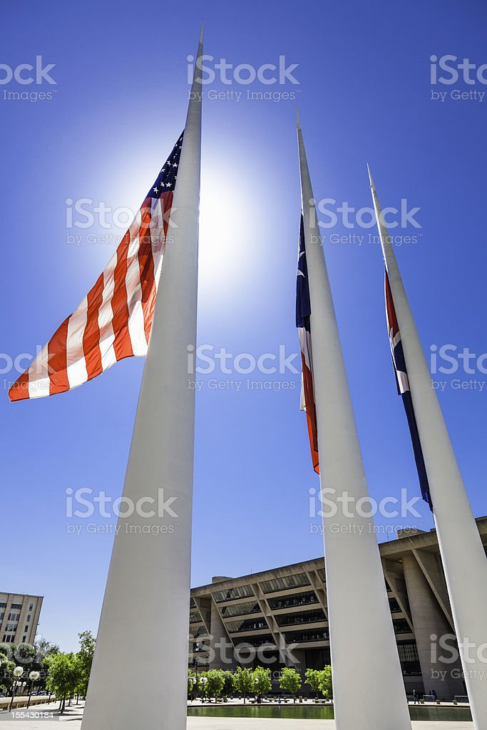 Flags in front of Dallas City Hall stock photo