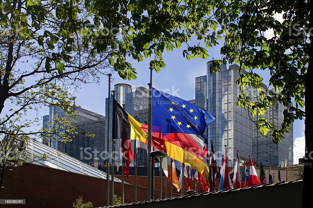 Flags in front of European Parliament, Brussels royalty-free stock photo