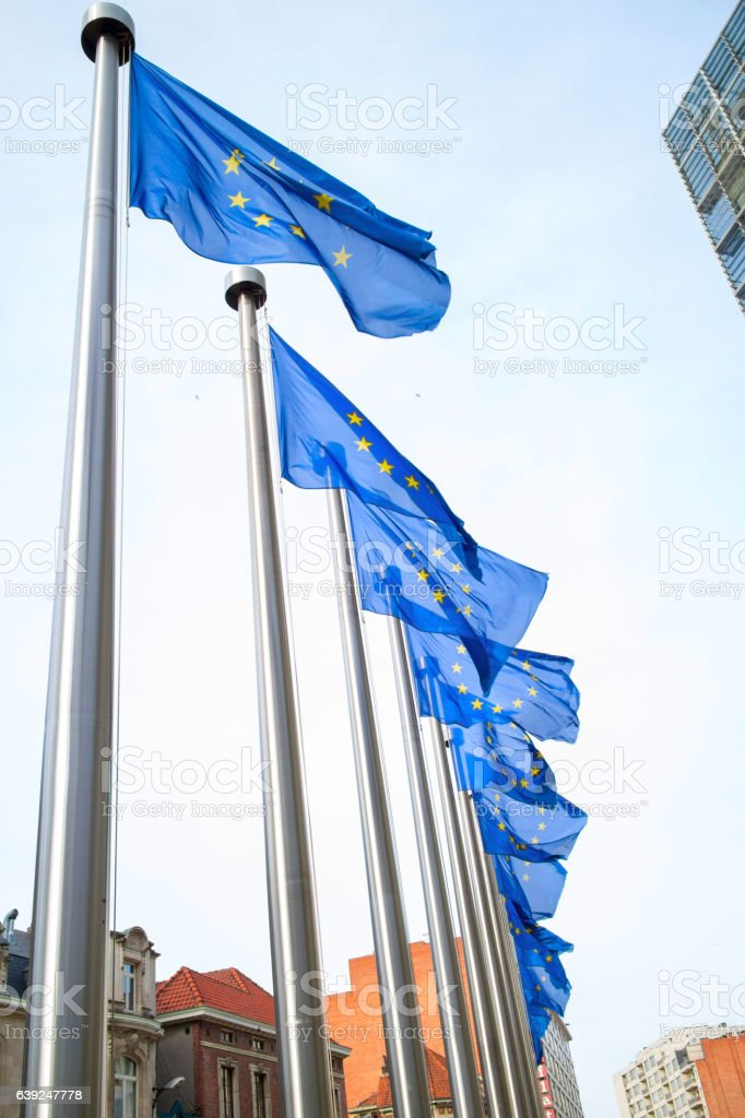 Flags in front of the EU Commission building stock photo