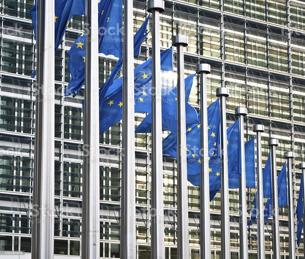 Flags in front of the European Commission, Brussels royalty-free stock photo