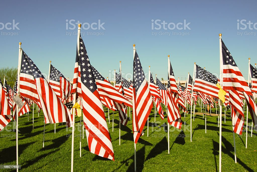 US flags in honor of 911 stock photo