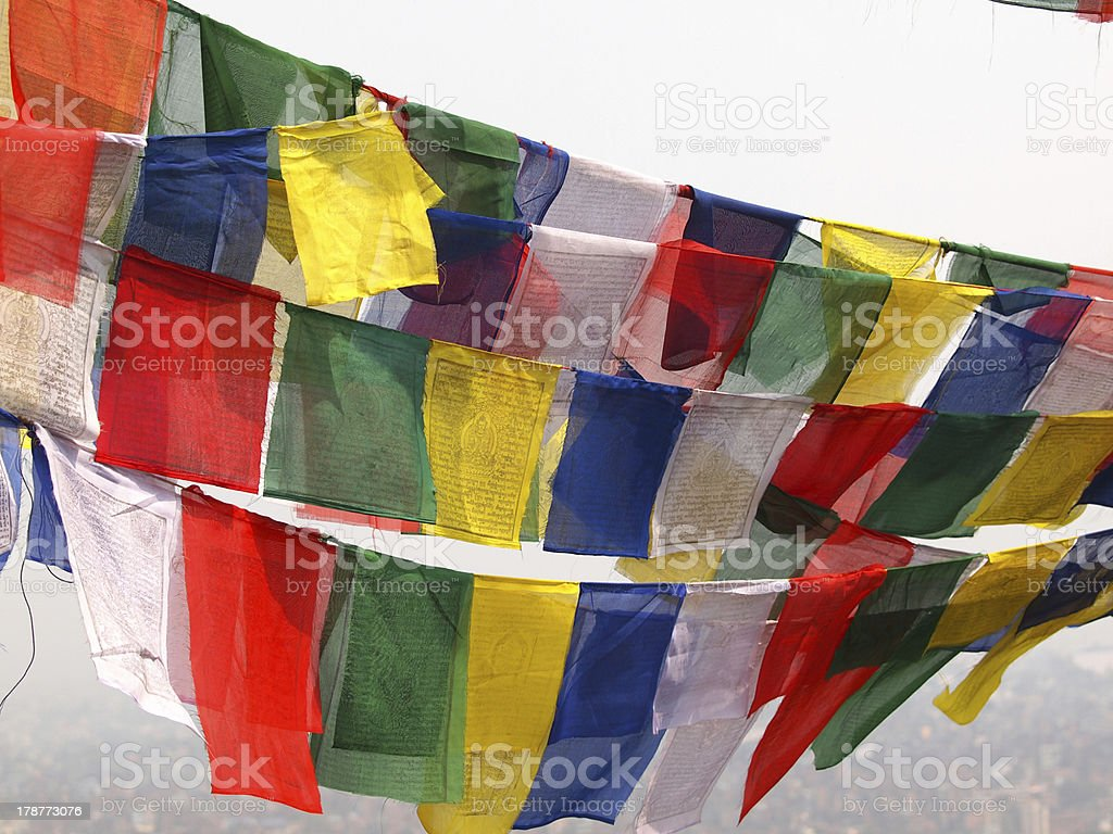 flags in Kathmandu royalty-free stock photo