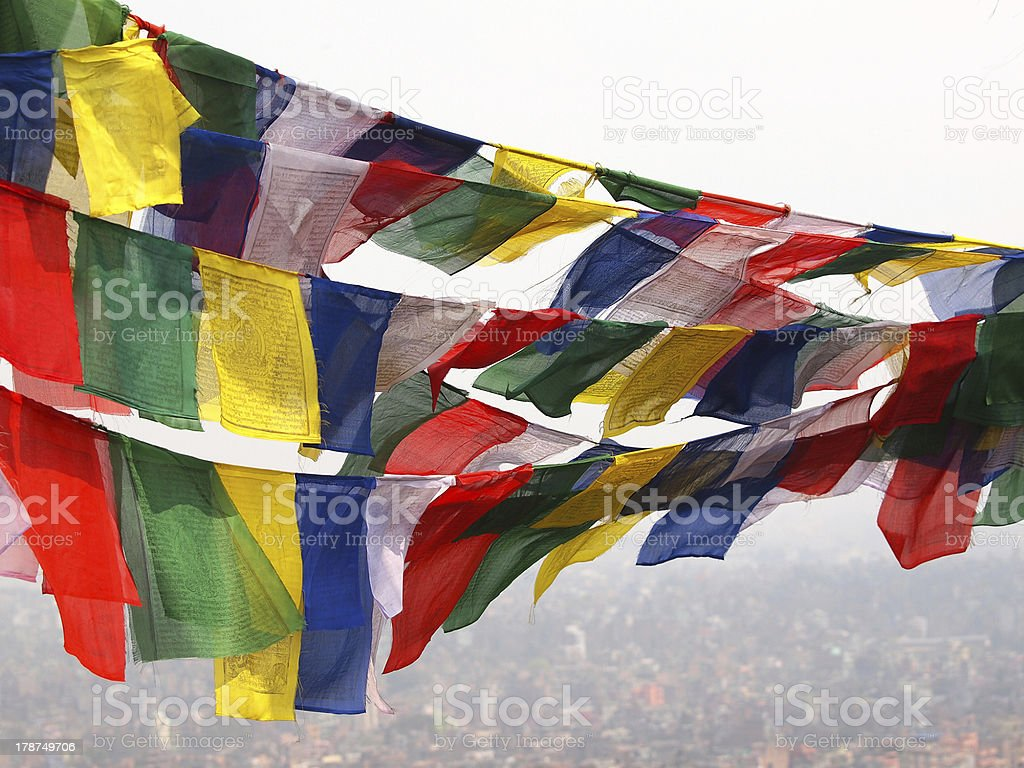 flags in Nepal royalty-free stock photo