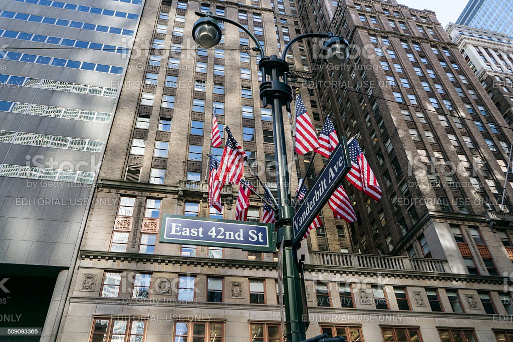 Flags in New York stock photo