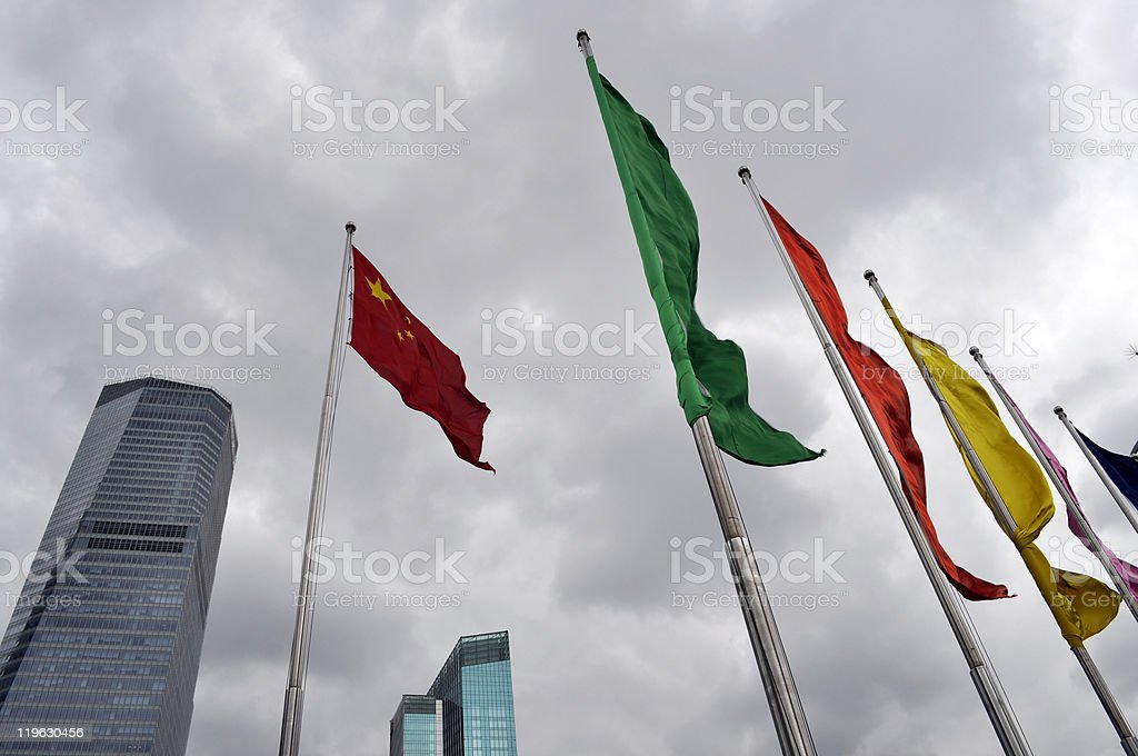 Flags in Pudong Shanghai China royalty-free stock photo