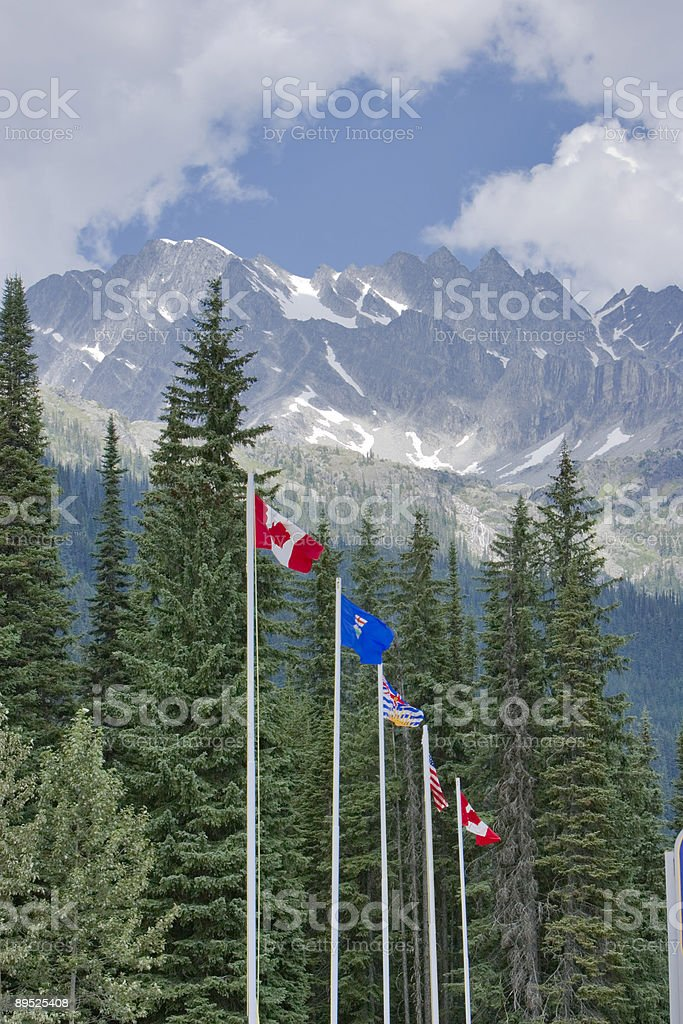 Flags in the Canadian Rockies stock photo