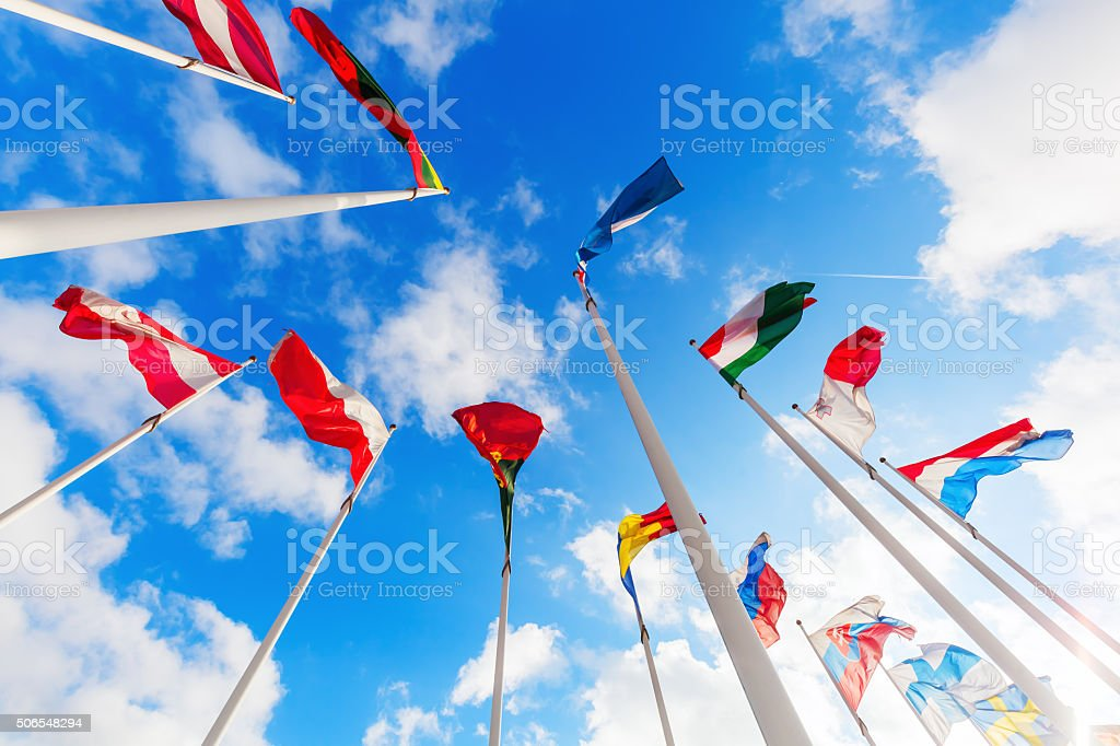 flags in the European district of Luxembourg stock photo
