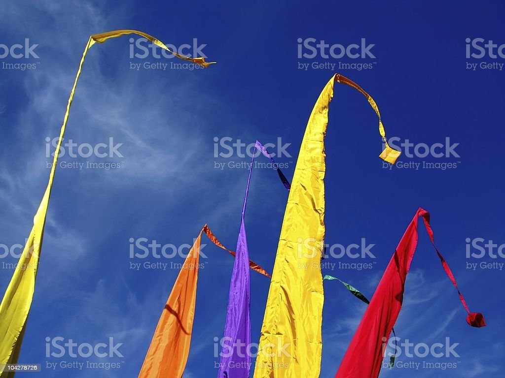 Flags in the wind stock photo