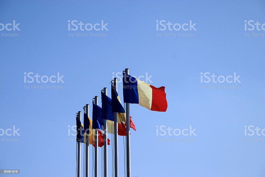 Flags in the wind royalty-free stock photo