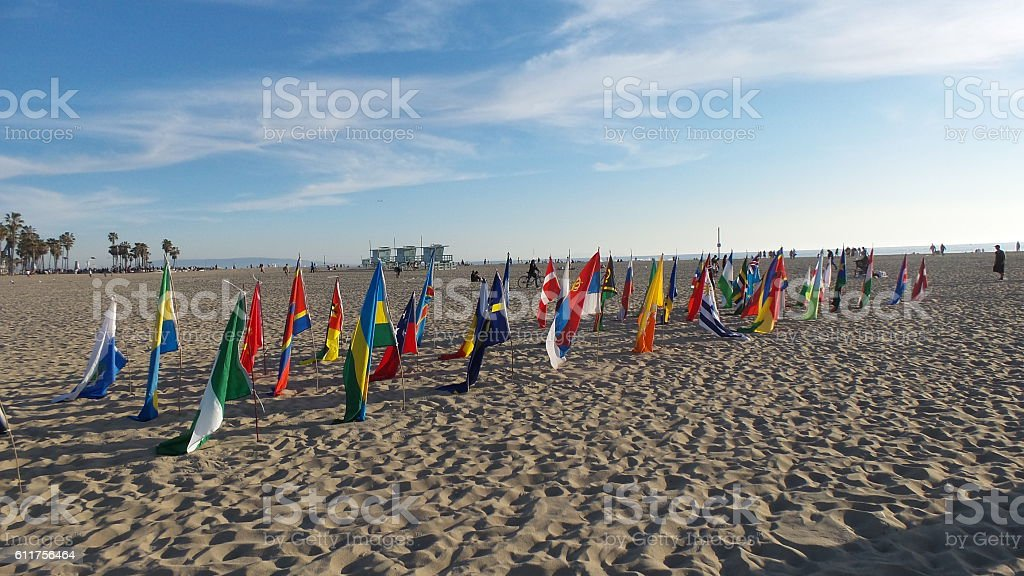 Flags in Venice Beach stock photo