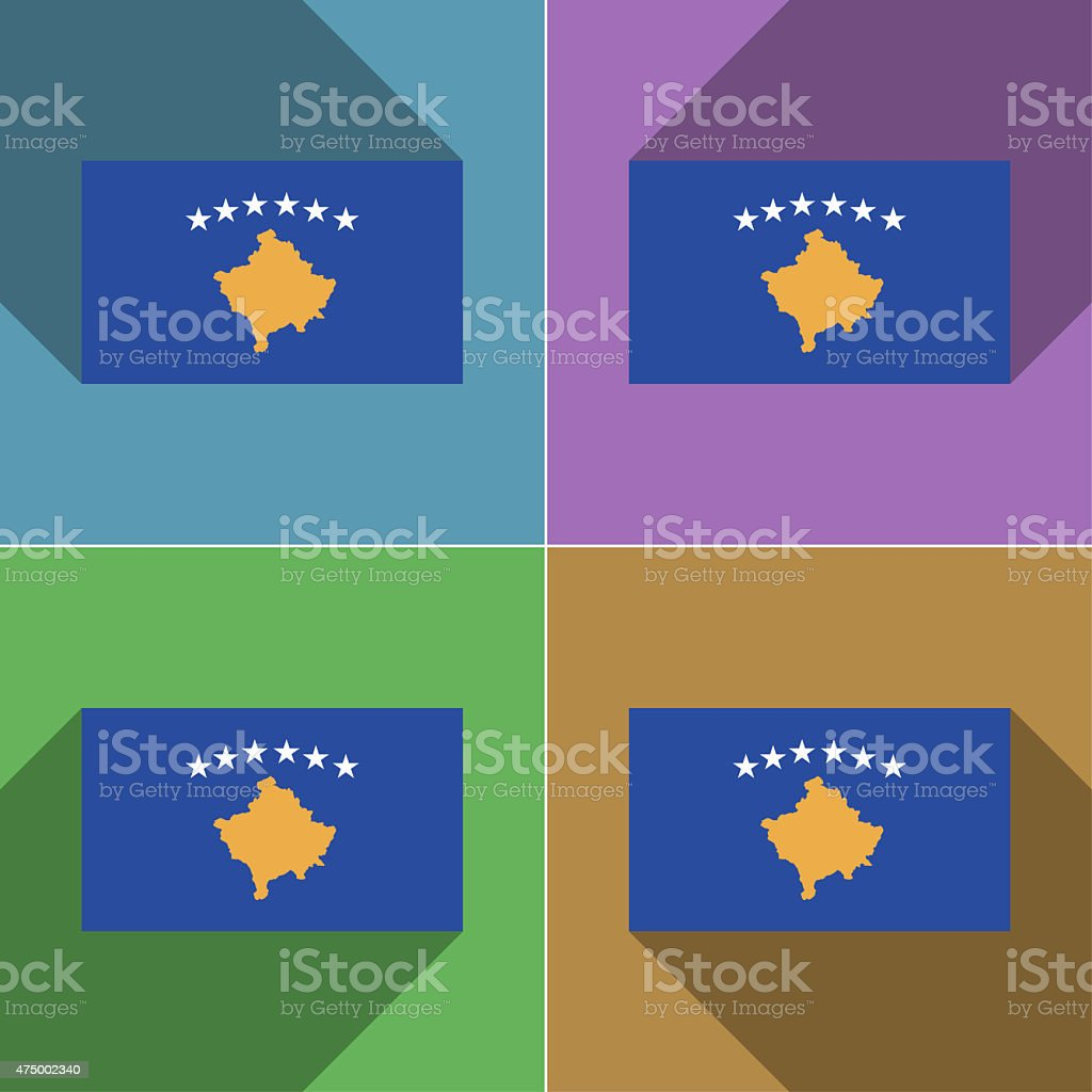 Flags Kosovo. Set of colors flat design and long shadows. stock photo