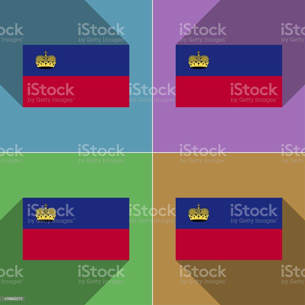 Flags Liechtenstein. Set of colors flat design and long shadows. stock photo