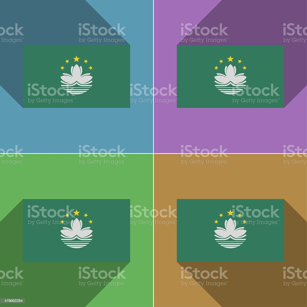 Flags Macau. Set of colors flat design and long shadows. stock photo