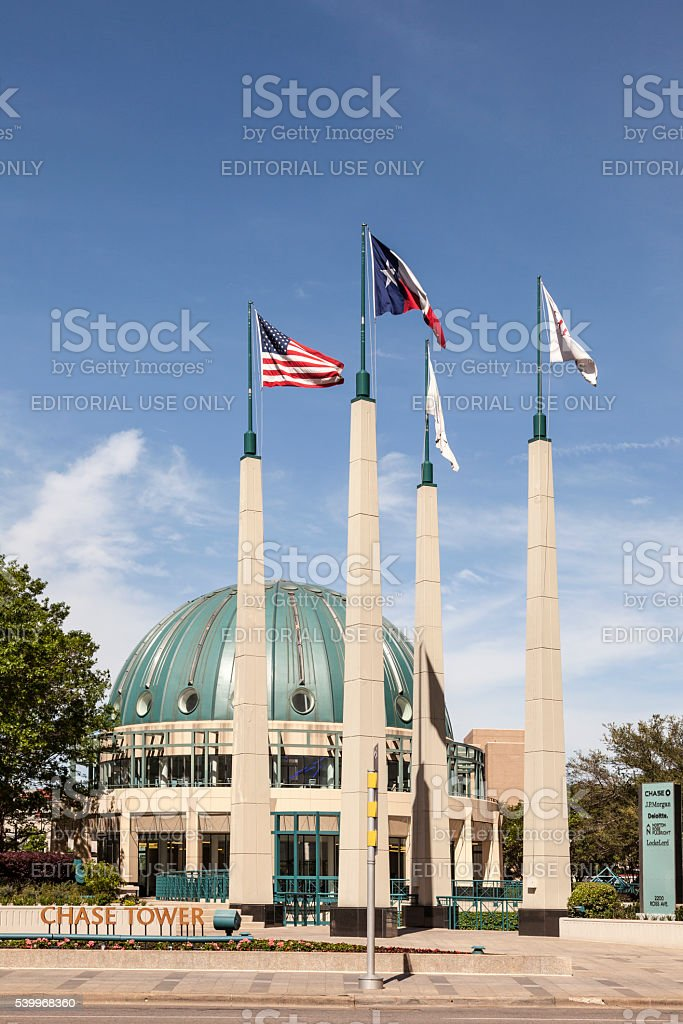 Flags near the Chase Tower, Dallas stock photo