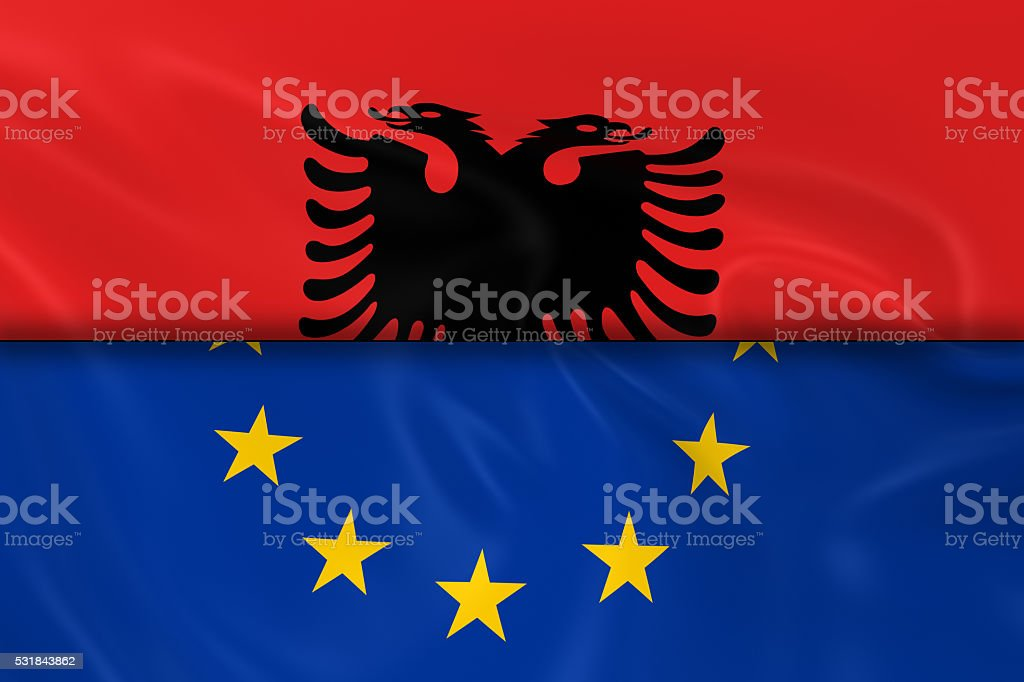 Flags of Albania and the European Union Split in Half stock photo