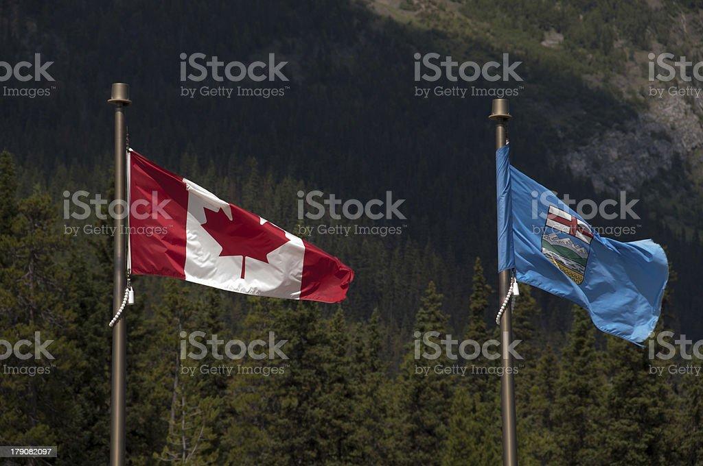 Flags of Alberta, Canada royalty-free stock photo
