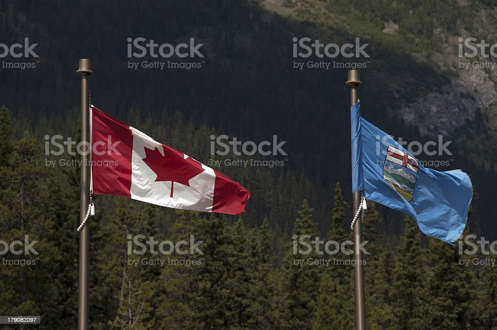 Flags of Alberta, Canada stock photo