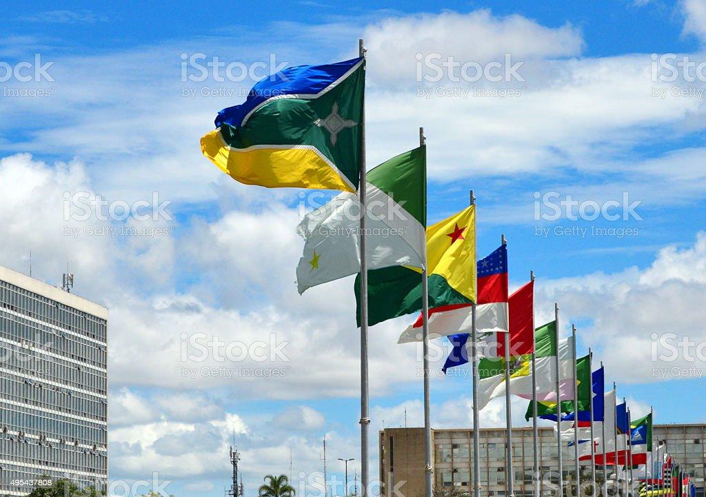 Flags of all Brazilian states, Brasilia stock photo