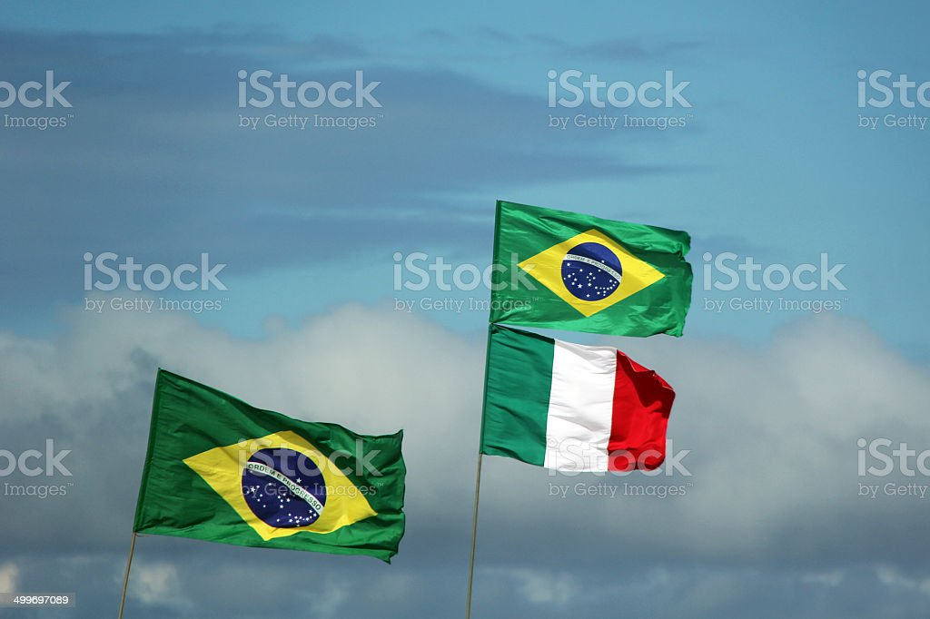 Bandeiras do Brasil e It?lia stock photo