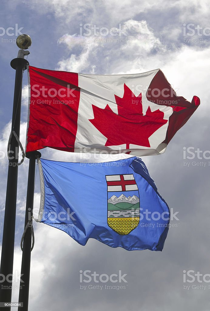Flags of Canada and Alberta stock photo