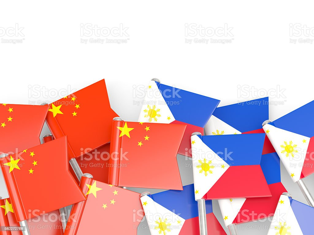 Flags of China and Philippines isolated on white stock photo
