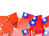 Flags of China and Taiwan isolated on white