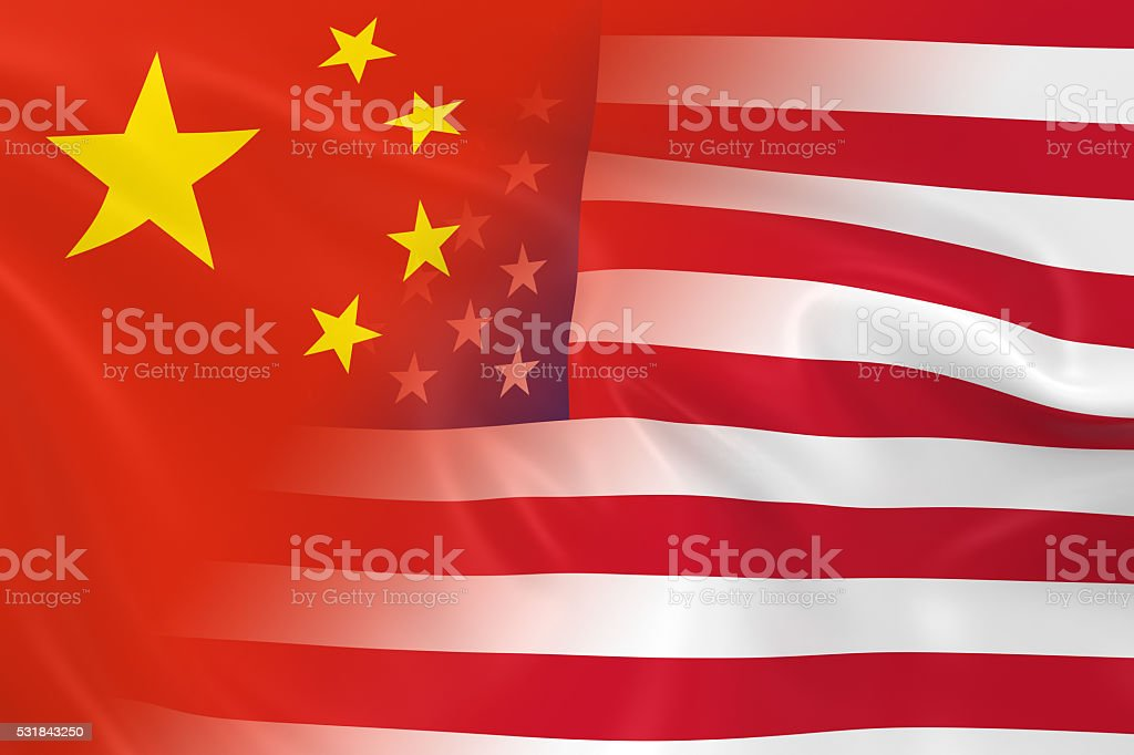 Flags of China and the United States Fading Together stock photo
