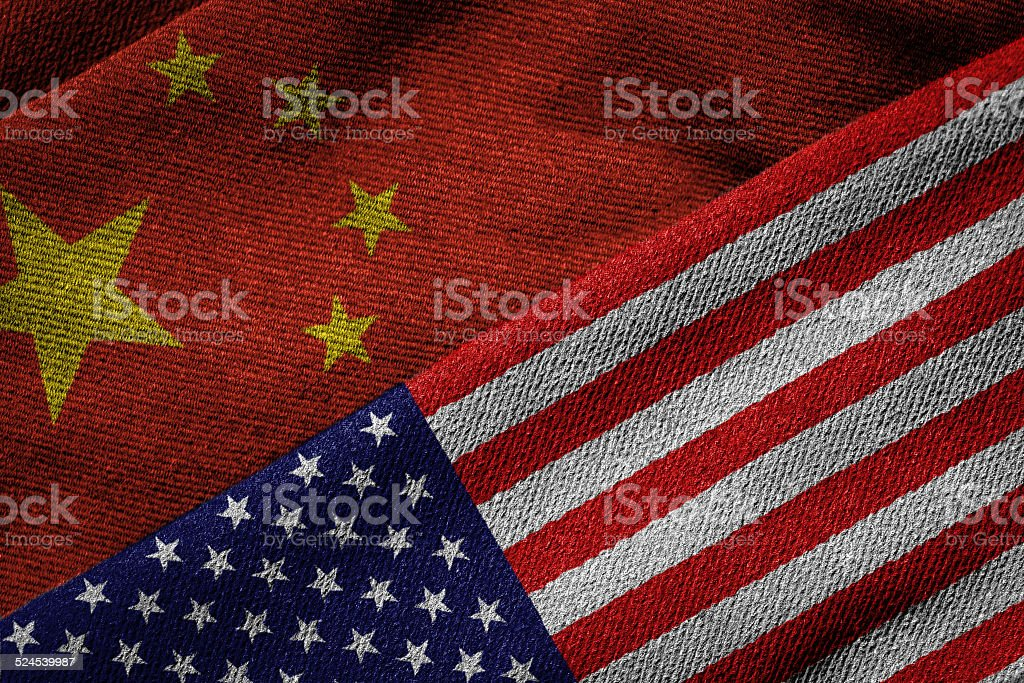 Flags of China and USA on Grunge Texture stock photo