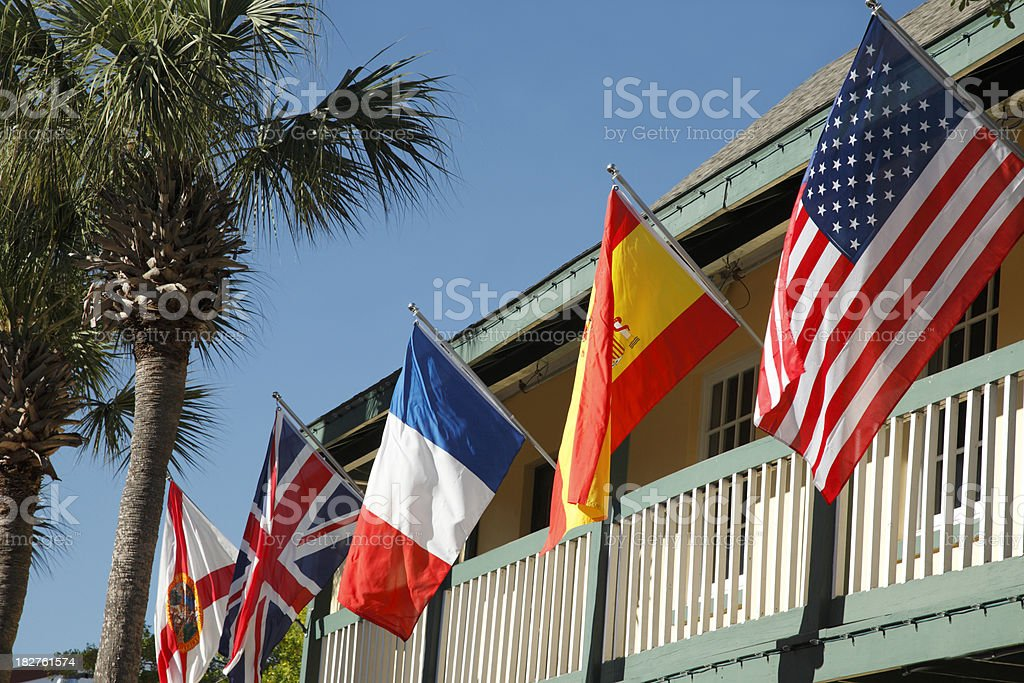 Flags of colonial impact stock photo