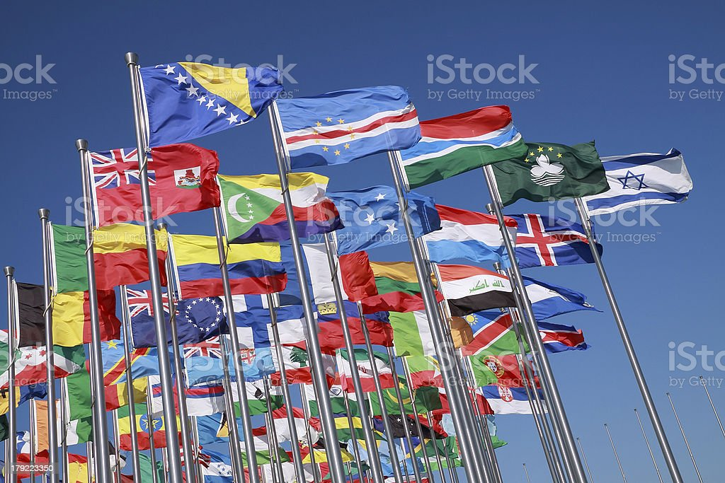 Flags of countries around the world stock photo