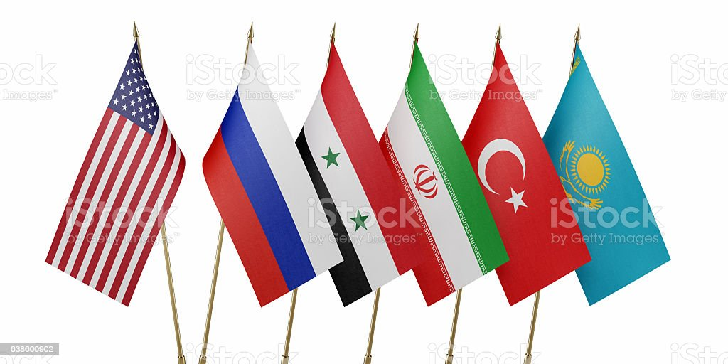Flags of Countries Attending Syria Peace Talks in Astana stock photo