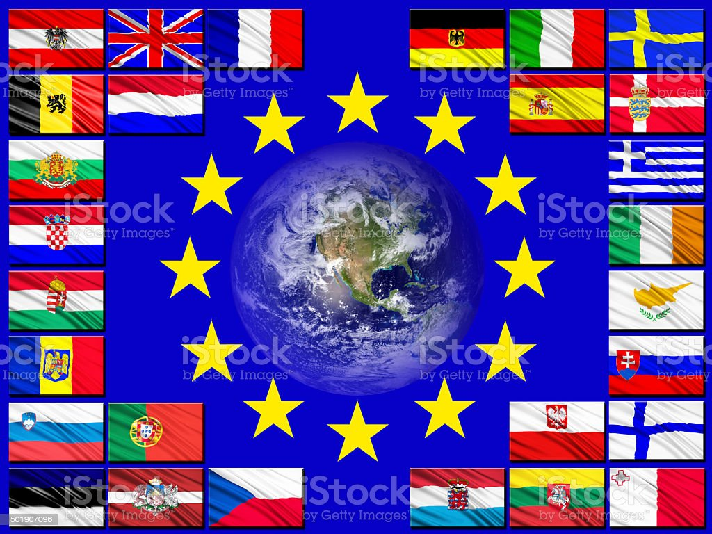 Flags of countries belonging to the European Union stock photo