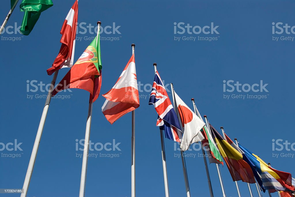 Flags of Different Countries royalty-free stock photo