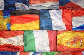 Flags of EU countries on bricks