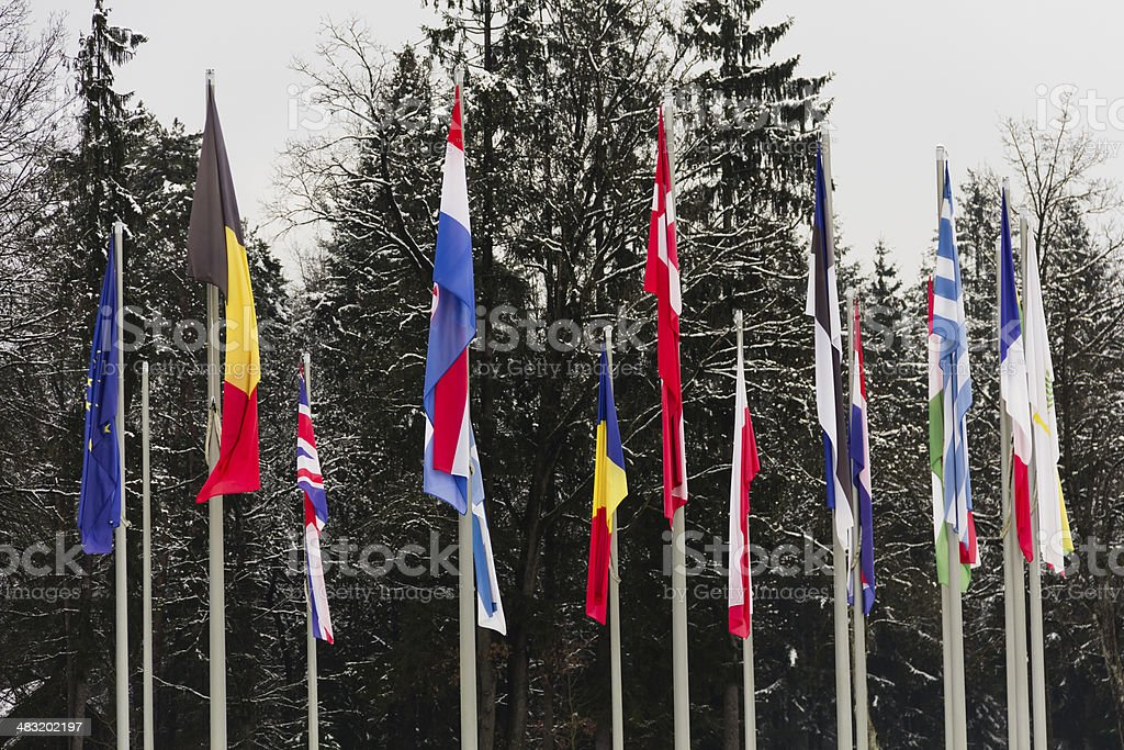 Flags of EU in windless winter stock photo