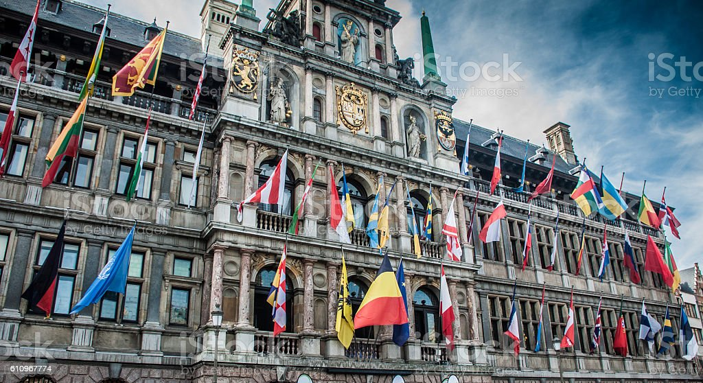 Flags of European union in Belgium stock photo