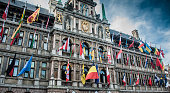 Flags of European union in Belgium