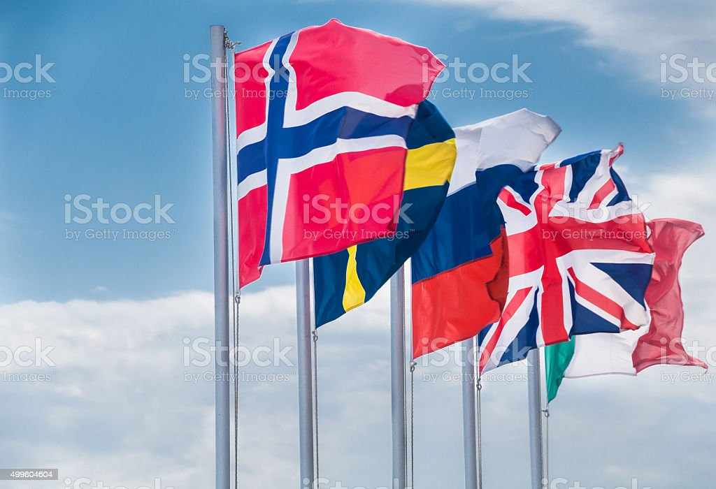 Flags of Five Nations stock photo