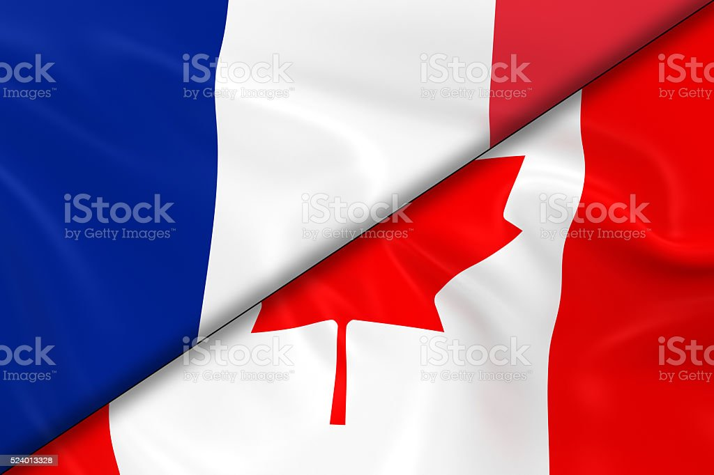 Flags of France and Canada Divided Diagonally stock photo
