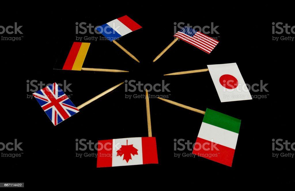 Flags of G7 isolated on black background stock photo
