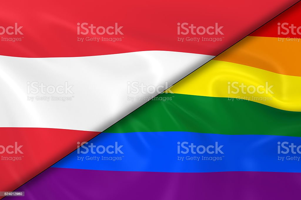 Flags of Gay Pride and Austria Divided Diagonally stock photo