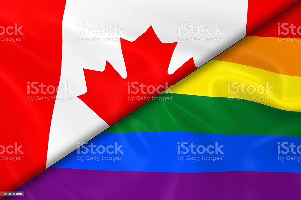 Flags of Gay Pride and Canada Divided Diagonally stock photo