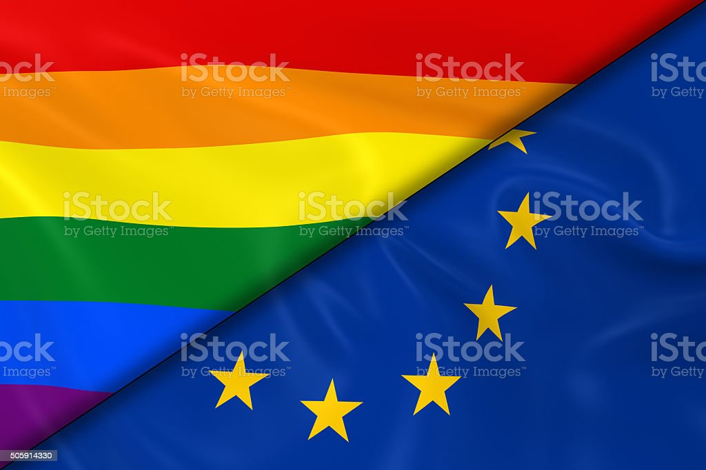 Flags of Gay Pride and the EU Divided Diagonally stock photo