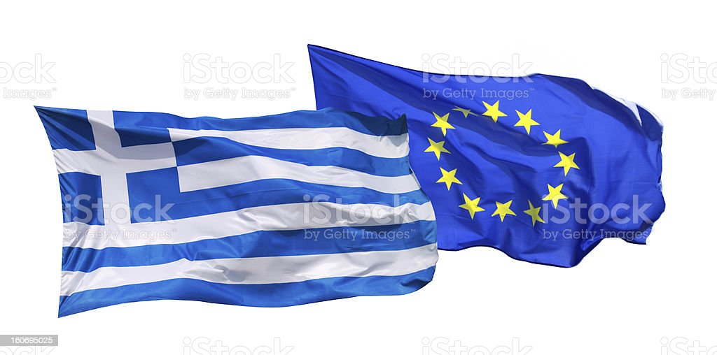 Flags of Greece and EU, isolated stock photo