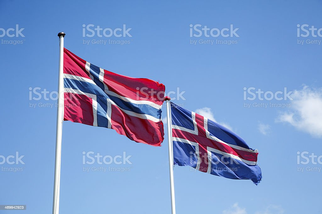 Flags of Iceland and Norway royalty-free stock photo