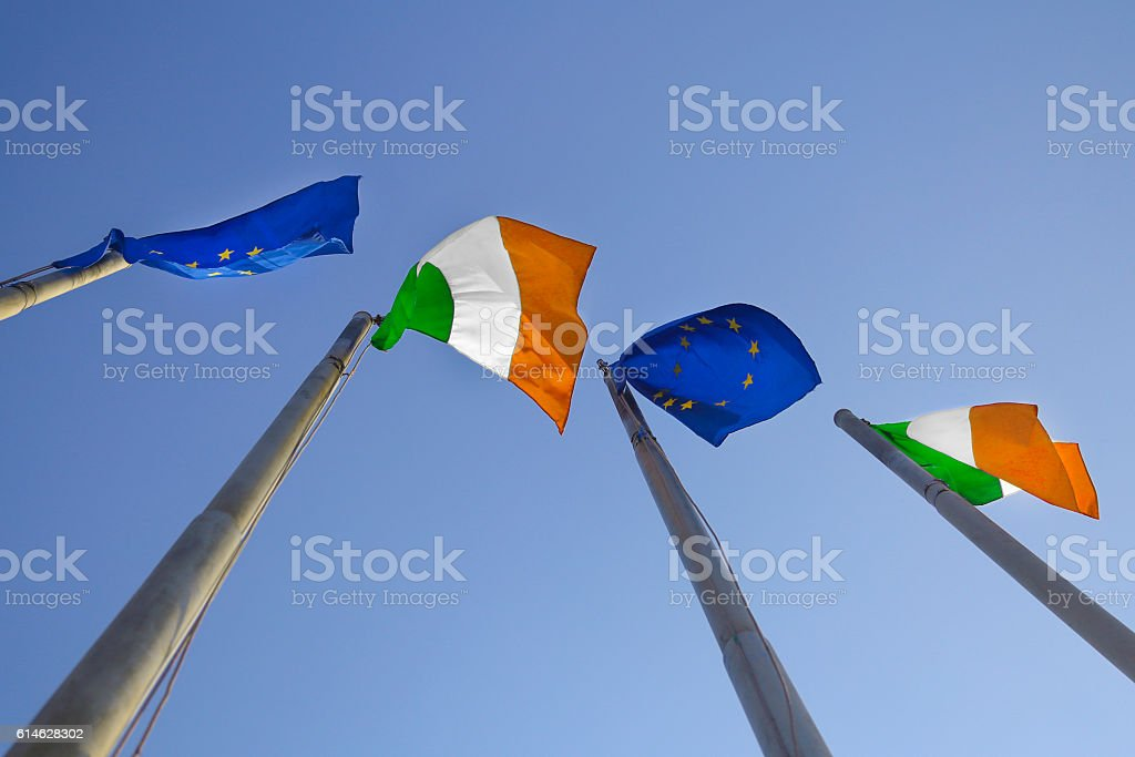 Flags of Ireland and EU stock photo