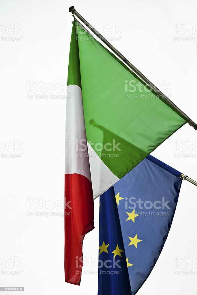 Flags of Italy and Europe stock photo
