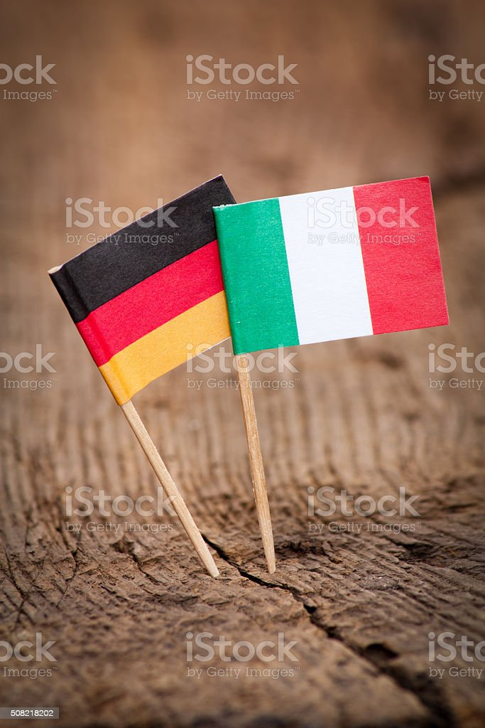 Flags of Italy and Germany stock photo